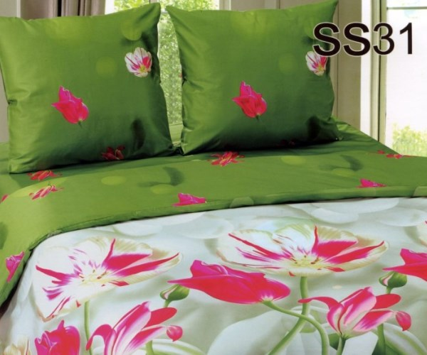 Постельное белье. Сатин «Лаванда» Тюльпаны SS31